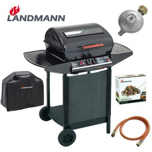 landmann 12375 lavastein gasgrill grillwagen grill mit druckminderer wetterhaube ebay. Black Bedroom Furniture Sets. Home Design Ideas